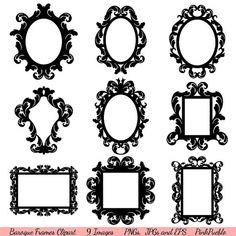 Baroque Frames Clipart Clip Art Vintage Frames by PinkPueblo