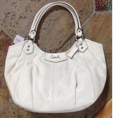 Coach Ashley Leather Cream Shoulder Tote