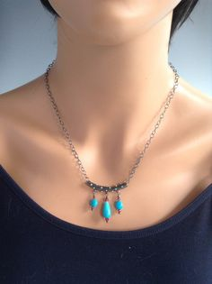 """Sleeping Beauty Turquoise necklace set, """"Cactus Beauty"""" by Scarlet Mare Studio   $102"""