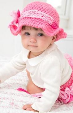 Country Baby Diaper Cover & Hat Free Crochet Pattern from Red Heart Yarns