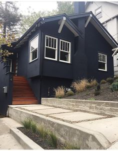 Awesome Black House Exterior Design Ideas You Definitely Like Black Things black color definition Black House Exterior, Exterior House Colors, Exterior Paint Colors, Exterior Design, Navy Houses, Craftsman Exterior, Exterior Homes, Dark House, Cottage