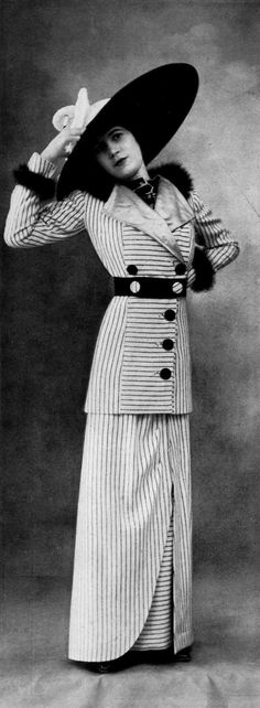 Tailored afternoon suit by Linker & Co, Les Modes January 1912. Photo by Félix.