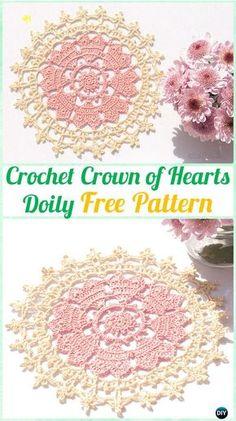 Crochet Crown of Hearts Doily Free Pattern - Crochet Doily Free Patterns. - Crochet and Knit Crochet Crown, Crochet Dollies, Crochet Flowers, Crochet Lace, Crotchet, Diy Crochet Doilies, Crochet Stitch, Thread Crochet, Crochet Crafts