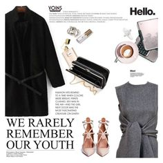 """""""Hello."""" by purpleagony ❤ liked on Polyvore featuring American Apparel, Valentino and yoinscollection"""