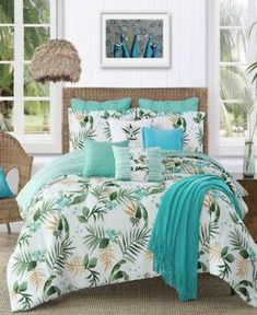 Turn your bedroom into the perfect place to relax in with Caribbean Joe's Nassau Comforter Set. A tropical green palm leaf print is set on a white ground, while the reverse is styled in aqua stripes. Includes matching pillow shams and a throw pillow. Bedroom Comforter Sets, Full Comforter Sets, Aqua Bedding, Tropical Bedroom Decor, Tropical Bedrooms, Tropical Decor, Tropical Bedding, Nassau, Color Menta