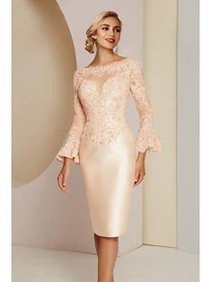 Ίσια Γραμμή Φόρεμα Μητέρας της Νύφης Κομψό Βίντατζ Μεγάλο Μέγεθος Bateau Neck Μέχρι το γόνατο Σατέν 3/4 Μήκος Μανικιού με Ζώνη / Κορδέλα Κρυστάλλινη λεπτομέρεια 2020 2020 - € 181.28 Short Mothers Dress, Mother Of The Bride Dresses Long, Mothers Dresses, Elegant Dresses, Sexy Dresses, Plus Size Dresses, Fashion Dresses, Tulle En Satin, Tulle Lace