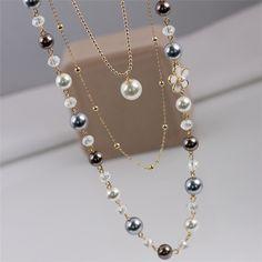 Новое Прибытие 2016 Красочные Мода Имитация Ювелирные Изделия Перлы Двойные Слои Камилла Длинные Ожерелье Для Женщин Свитер Ожерелье