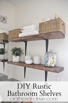 DIY Rustic Wood Metal Bathroom Shelves -