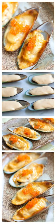 Cheese-mayo mussels or baked mussels dynamite is so delicious. Easy recipe with cheese, mayo, mussels and you have the most amazing appetizer ever | http://rasamalaysia.com