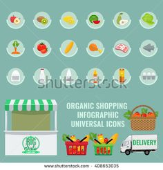 Fruit and vegetable icon set with solid flat color for infographic design. Basket with full of fresh organic vegetables. Organic Healthy food concept. Store booth with green awning  - stock vector