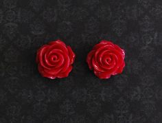 Magenta Rose Flower Girly Plugs  4g 2g 0g 00g by ryarr on Etsy, $12.99