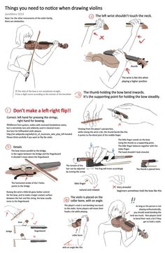 A summary of important points for drawing a violin player. Hope it helps. * It's better to seek reference from video clips of those famous v. Drawing violins - things you need to notice Violin Drawing, Violin Art, Violin Sheet Music, Drawing Base, Drawing Tips, Drawing Reference, Cello, Violin Songs, Violin Painting