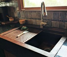 "$2,695 - This Soluna copper farmhouse workstation sink comes with a number of handy accessories for food prep, washing pots and pans, carving meats and so much more. The design and accessories allows for ""multitasking"" and frees up counterspace. The anti-microbial properties, corrosion resistance and the visual appeal of copper make it an excellent choice. Kitchen Inspirations, Compact Kitchen, House Design, Workstation, Farmhouse Sink, Copper Kitchen, Pots And Pans, Farmhouse Kitchen, Copper Farmhouse Sinks"