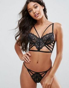 5f35edf2d9 ASOS Florence Strappy Lace Underwire Bra Set in Black at asos.com