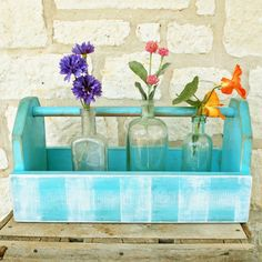 Wooden Tote Turquoise Tote Carrier Garden Trug by SummerRoad, $31.00 Old Tool Boxes, Old Tools, Garden Ideas, Glass Vase, Arts And Crafts, Turquoise, Diy, House, Outdoor