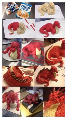 How I made my husband& dragon cake! How I made my husband& dragon cake! The dragon was made out of rice krispy& and fondant. I then made a cake look like a book to set him on, giving the final touch for a perfect fantasy cake! Cake Decorating Techniques, Cake Decorating Tutorials, Decorating Ideas, 3d Cakes, Cupcake Cakes, Shoe Cakes, Pink Cakes, Fondant Cakes, Rice Krispie Treats