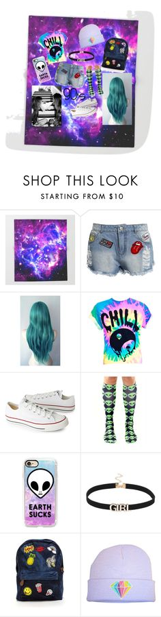 """90's Baby 🙌💞👽✨"" by jennie-love-1 ❤ liked on Polyvore featuring Sans Souci, Converse, Casetify and cutekawaii"