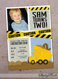 Construction Crew / Dump Truck A Construction First Birthday. Party with a dump truck invitation, orange pylon smash cake, refueling station with gas pump juice boxes + tire donuts Construction Party Invitations, Construction Birthday Parties, 3rd Birthday Parties, Digger Birthday, Boy Birthday, Birthday Ideas, Dump Truck Party, Printable Invitations, Invites