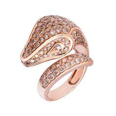 Rose Gold Diamond Serpent Ring