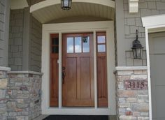 ideas farmhouse exterior doors with sidelights Craftsman Front Doors, Exterior Doors With Glass, House Front, House Exterior, Exterior Brick, Craftsman Porch, House Paint Exterior, Craftsman House, Exterior Door Colors