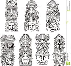 Abstract mesoamerican aztec totem poles. Set of black and white vector ...