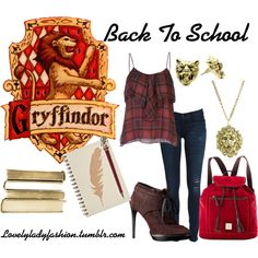 """""""Gryffindor Back to School"""" by nearlysamantha on Polyvore"""