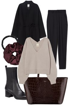 H&M Premium wool coat / H&M Studio trousers / H&M wool sweater / Moye scrunchie / Moye headband / Hollie Warsaw bag (similar here) / Vagabond shoes Everyday Outfits Simple, Simple Outfits, Stylish Outfits, Mode Dope, Cute Workout Outfits, Cool Girl Style, Winter Fashion Outfits, Elegant Outfit, Minimal Fashion