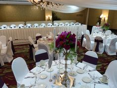 The Embassy Suites Airport (MN)  Purple/Eggplant Wedding Colors.   Candelabras  www.embassyweddings.com