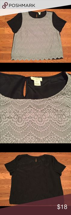 J. Crew Lace Front Blouse J. Crew gray and navy lace front short sleeve blouse. Button closure in back. Size XXL. J. Crew Tops Blouses