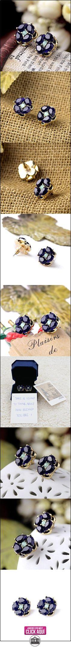Pendientes estilo victoriano, con imitación de zafiro oscuro, en tonos dorados, de Lares Domi  ✿ Joyas para mujer - Las mejores ofertas ✿ ▬► Ver oferta: https://comprar.io/goto/B01J5CHZZG
