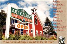 A lovely gallery just outside of the equally lovely town of Charlevoix, MI. Wood Etching, Charlevoix Michigan, Pottery Sculpture, Northern Michigan, Art World, Art Gallery, Places, Galleries, Photography