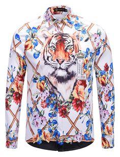 Britainlotus Mens Long Sleeve Luxury Print Dress Shirt Graphic Button Shirt