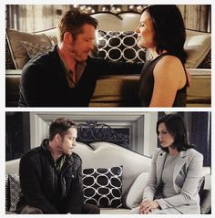 The use of color in the scene underscores the feeling: in the top one, the colors are warm, like Regina's heart as she opens to love; in the bottom one, there's an icy grey tint to the whole picture, showing Regina's heart going cold again. Nicely done.