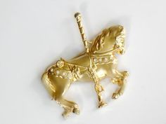 Carousel Horse Brooch Gold and Rhinestone by JewelryQuestDesign, $11.99