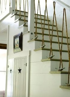 Rope and cleats for stair rails
