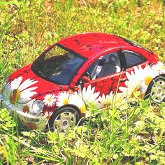 VW Beetle — red with daisies