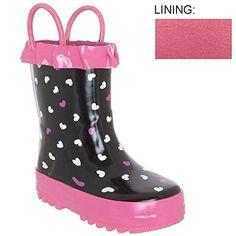 Capelli New York Toddler Girls Scattered Hearts Rain Boot Black