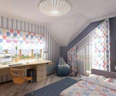 chambre à plaford sous pente en couleurs pastel rose et bleu