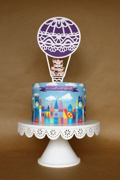 It's a Small World Inspired Cake Wrap // It's a Small World Edible Image // Hot Air Balloon Cake Topper Oreo Molds, Birthday Parties, Birthday Cake, Birthday Ideas, Hot Air Balloon Cake, Edible Cake, Cake Toppings, Small World, Cake Creations