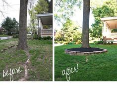 Don't put mulch against tree trunk, though. stacked stone around tree . Don't put mulch Landscaping Around Trees, Mulch Landscaping, Landscaping With Rocks, Front Yard Landscaping, Landscaping Ideas, Mulch Around Trees, Luxury Landscaping, Landscaping Software, Rock Planters