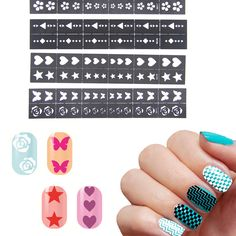 $0.74 Find More Stickers & Decals Information about 2016 1 SHEET Nail Stencil Nail…