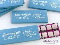 Cartela de chicletes para Save the Date 15 anos. Orçamentos e pedidos pelo e-mail contato@efeitoearte.com.br
