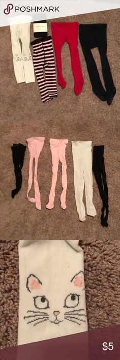 """Lot of 10 girls' tights 10 pairs of tights. Most say """"one size"""" but two say """"2T-4T"""". One says 12-18 mo but my 4T girls can wear them, although they have slim legs. The white cat ones are from Target, have some discoloration, are marked """"2T-3T"""" but my 4T girls wear them with room to spare. One is unmarked.  I've listed all the kids' clothing as cheaply as I can. Unfortunately I can't go lower on individual items, but I'm super happy to bundle! It will save you shipping and save me time. Thank…"""