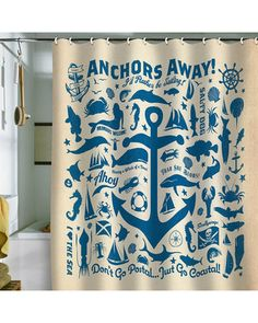 What a fun shower curtain for warmer days - great at the lake, too! Anchors Away! #BHGSummer