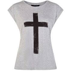 Grey Cross T-Shirt ($12) ❤ liked on Polyvore featuring tops, t-shirts, cross tops, cross t shirt, round neck t shirt, vegan t shirts and short sleeve tops