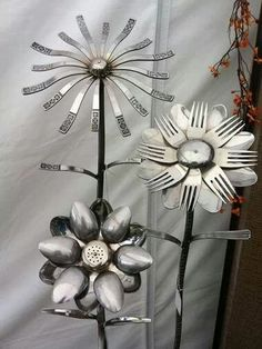 Welded silverware flowers