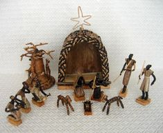This Nativity scene is handcrafted by Congolese craftsmen in Bukavu in the Democratic Republic of Congo (formerly Zaire).