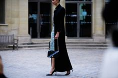 Paris Fashion Week's Best Street Style Is All About Dark Layers and Primary Colors Photos   W Magazine