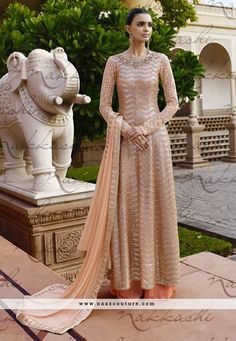 Beige And Orange Net Palazzo Salwar Suit