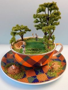 Try making your own mini diorama. Just use a tea cup!